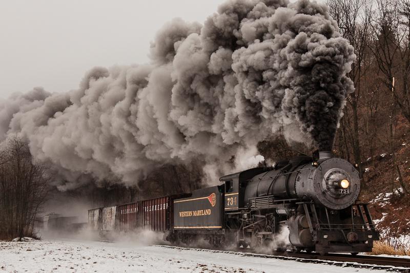 734 Western MD steam train heading down the train tracks