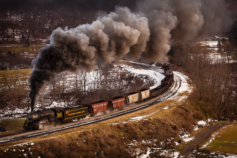 734 Western MD steam train traveling thru the MD countryside