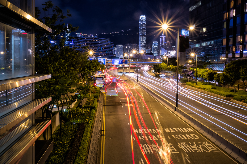 Hong Kong Nathen road nighttime light trails