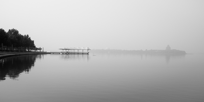 Suzhou Jinji Lake covered pier in smog