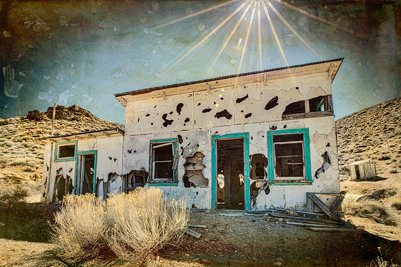 Eureka Ghost House with sun flare and texture overlay