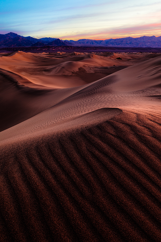 Mesquite Dunes pre dawn with warm glow