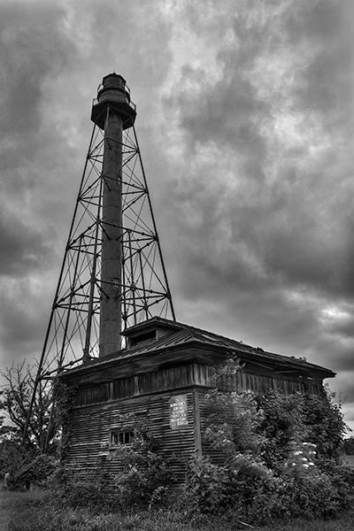 Liston Range Rear Light in Smyrna DE with dramatic sky in black and white