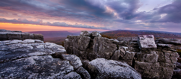 Bear Rocks West Virginia with a dramatic sunrise with blues and orange