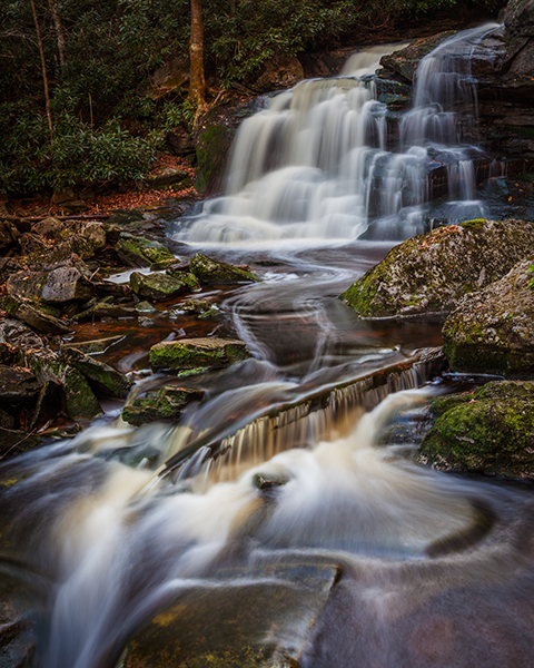Blackwater Falls State Park West Virginia Elakala Falls with silky flowing water