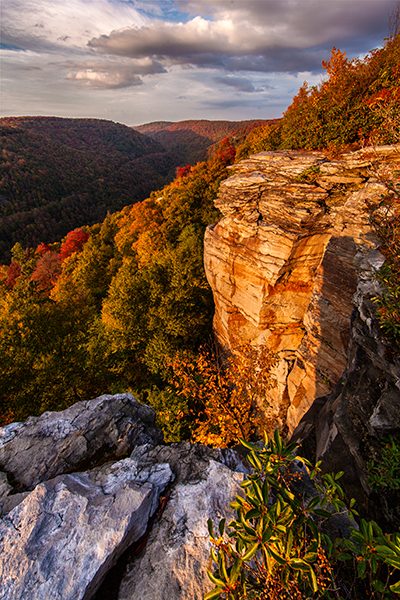 Blackwater Falls State Park, Lindy Point cliff bathed in golden sunset light