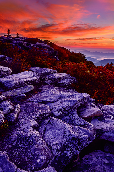 Bear Rocks West Virginia with pre sunrise golden clouds