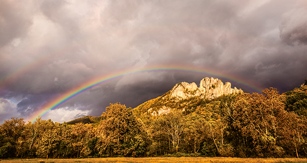 Seneca Rocks West Virginia with a rainbow arch