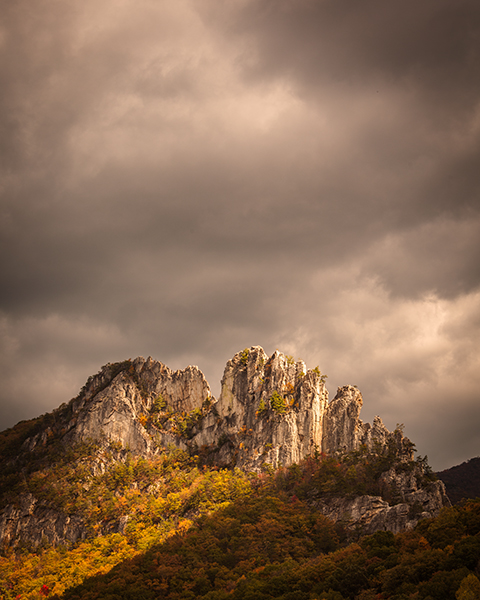 Seneca Rocks West Virginia lit by golden sun